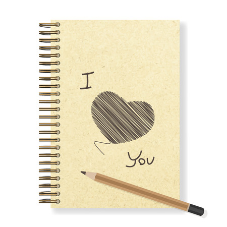 spiral notebook: Heart hand painted blank realistic spiral notepad notebook and pencil