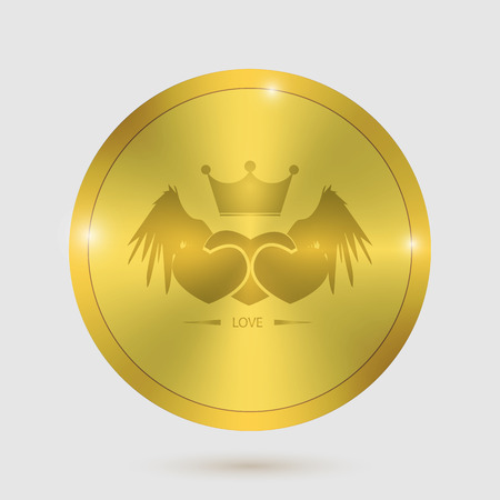 icon heart angel valentines day guarantee of gold metal badges. Vector