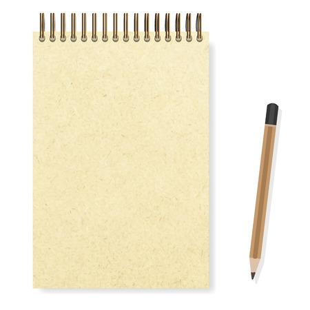 lege realistische spiraal blocnote notitieboekje en potlood vector