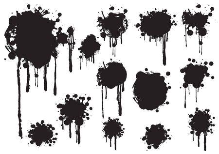 grunge splashes set, illustration vector