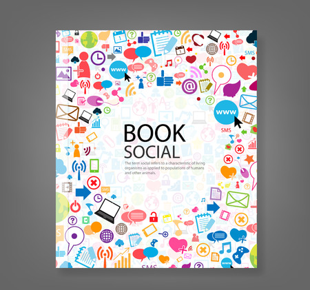 Cover report social network background with media icons, vector illustration