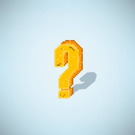 8 bit: retro question mark symbol style 8 bit, vector illustration Illustration