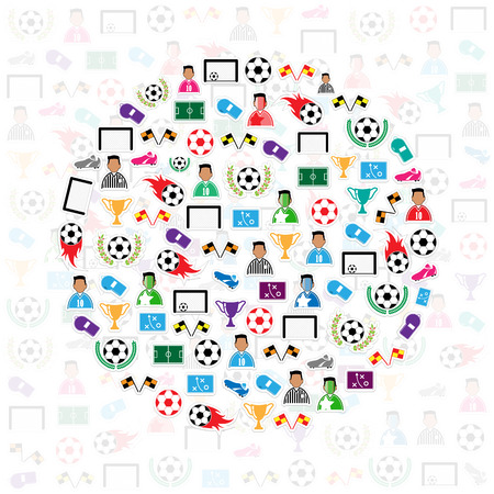 goal cage: Soccer circle icons background, Illustration vector eps10