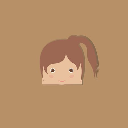 cartoon doodle girl rectangle, vector illustration Vector