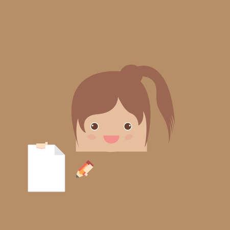 cartoon doodle girl rectangle of business, vector illustration Vector
