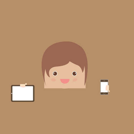 woman cellphone: cartoon doodle man rectangle hand phone of business, vector illustration