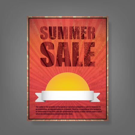 imperfections: Report Summer Sale Vintage card. Vector illustration.