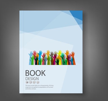 reports: Cover report hands of different colors background, vector illustration
