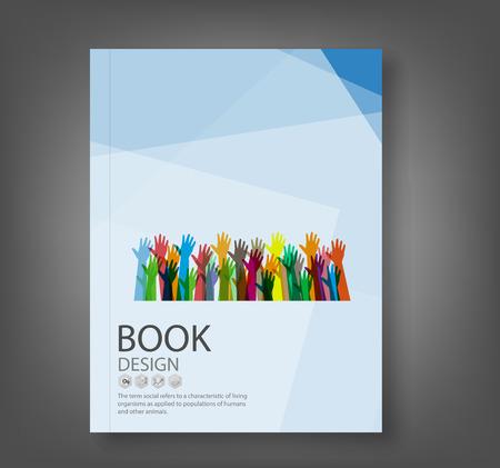reporte: Informe Cubierta manos de diferentes colores de fondo, ilustraci�n vectorial