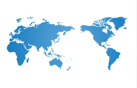 world map blue: World map and compass of vector, vector illustration