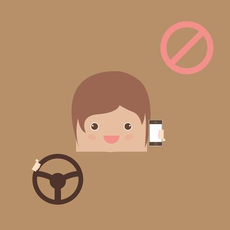 no cell: cartoon doodle man no cell phones while driving, vector illustration
