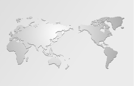 World map and compass of vector, vector illustration