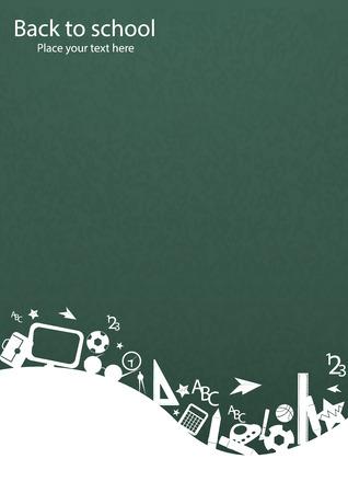 fournitures scolaires: seamless, avec des icônes colorées school sur fond avec des icônes des médias