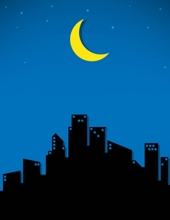 armageddon: moon and stars in the city Illustration
