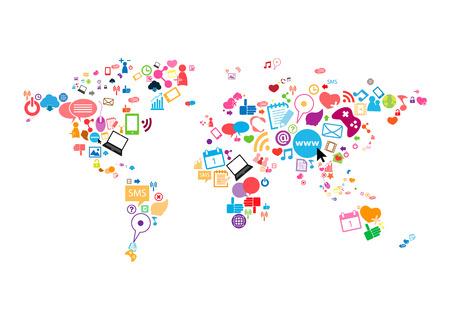 소셜 네트워크지도 배경 인포 그래픽