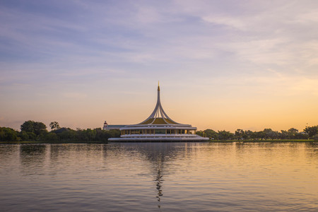 rama: Beautiful sunset at Suan luang Rama 9 park, Bangkok, Thailand