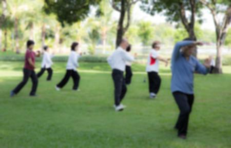 Style onscherpte Mensen beoefenen van tai chi in het park Stockfoto