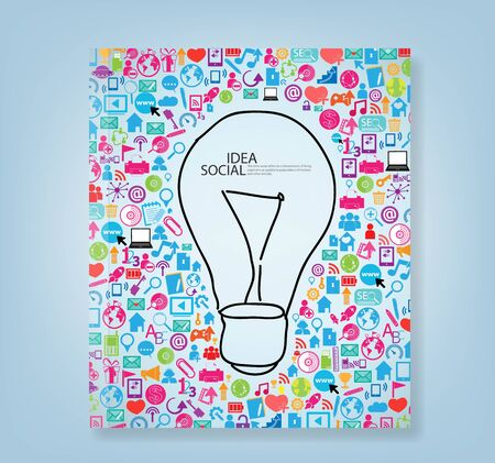 log book: book lamp template design with social network icons background book, vector illustration