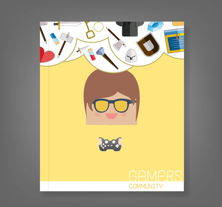 papercraft: book cartoon doodle man rectangle play games game weapon icons, vector illustration