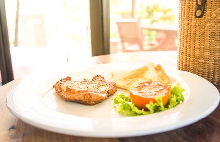 pork chop: Fried pork chop, mashed potato