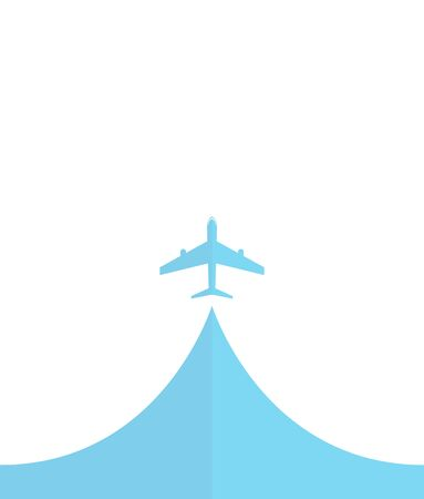 flightpath: white silhouette of airplane, isolated on blue Flat icon modern design style vector illustration concept.