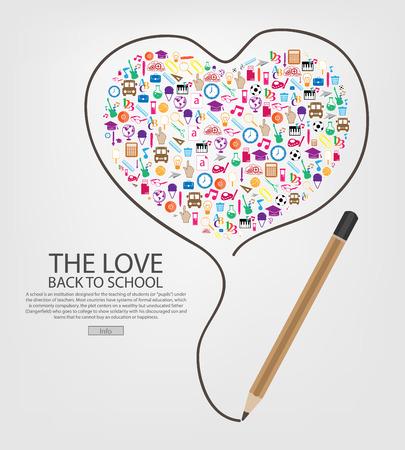 fournitures scolaires: crayon dessiner conception de modèle de coeur avec le coeur Retour à l'école des enfants sans soudure icônes fond, illustration vectorielle