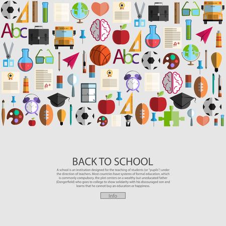 Retour à l'arrière-plan de l'icône de l'école, vecteur d'illustration. Vecteurs