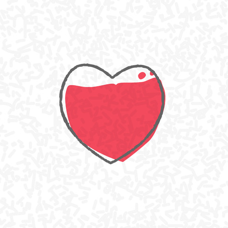 abstract scribble: love processing concept heart on scribble abstract pattern white. Vector