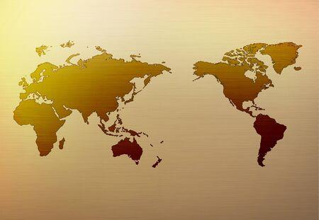 Gold map metal background Illustration