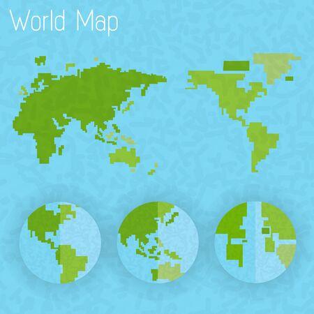 8 bit: Mapa del mundo 8 bits de aire y la br�jula de vector