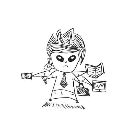 satire: Businessman with cute characters businessman, drawing by hand vector