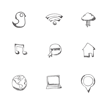 consultancy: Set of network icons hand drawn - vector icons