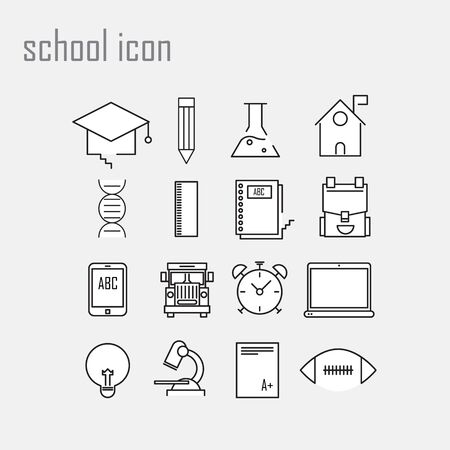 numbers abstract: Line icons, school, school icons,Modern infographic vector logo