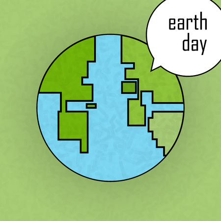8 bit: Earth day poster. 8 bit style.