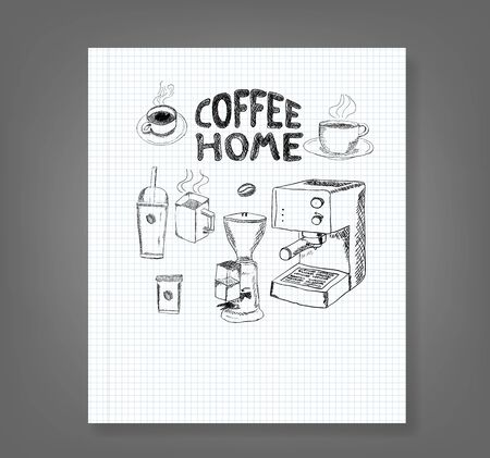 coffee collection book - hand drawn illustration Ilustrace