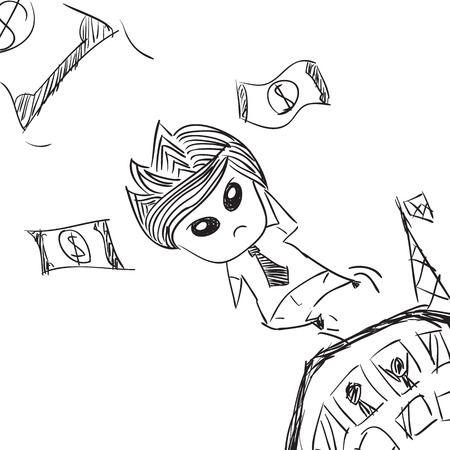talented: Businessman with are jumping Money cute characters businessman, drawing by hand vector