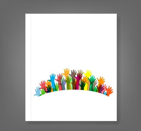 hand touch: hands of different colors book. cultural and ethnic diversity, vector illustration