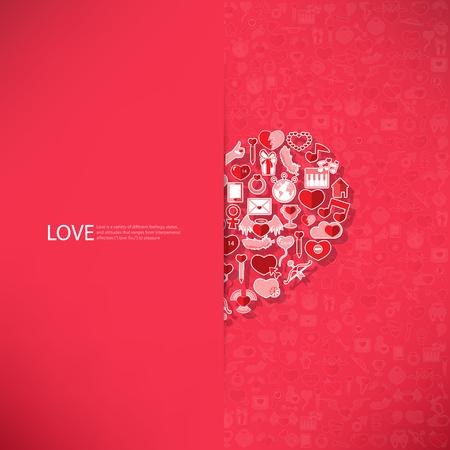 bougie coeur: Red ic�ne coeur valentines carte de jour avec signe sur Ic�ne amour fond
