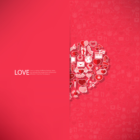 heart symbol: Red icon heart Valentines day card with sign on Icon love background Illustration