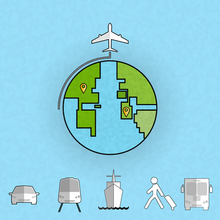 transport icon: Around the world travelling by plane, Flat icon modern design style vector illustration concept.