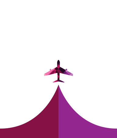 flightpath: white silhouette of airplane, isolated modern design style vector illustration concept.