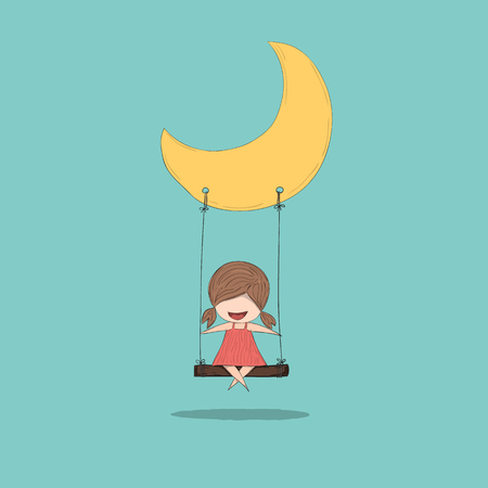 swinging: Cartoon girl swinging on a moon, drawing by hand vector