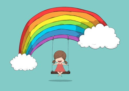 swinging: Cartoon girl swinging on a rainbow, drawing by hand vector