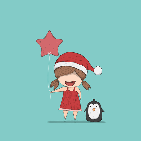 doodle art: Girls and Penguin cute Christmas character. Vector illustration, drawing by hand vector Illustration