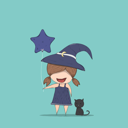 stupid body: Cute witch holding the star-shaped balloons and black cat ride, halloween, drawing by hand vector Illustration