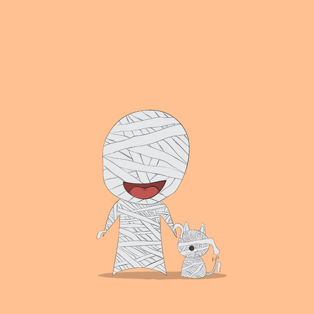 face covered: Cartoon mummy and dog mummy, drawing by hand vector, halloween Illustration