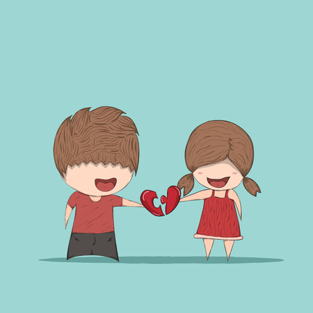 Cute cartoon boy and girl couple in love, cute Valentines Day card, drawing by hand vector Ilustração
