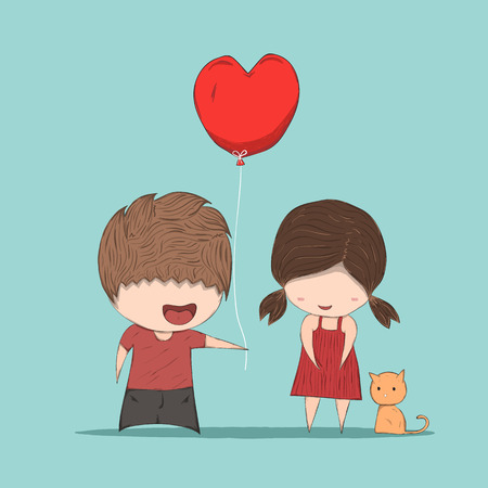 Boy heart-shaped balloons gives Girl and cat, cute Valentines Day card, , drawing by hand vector