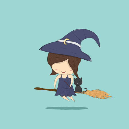 stupid body: Witch cute and black cat ride on the broom, halloween, drawing by hand vector