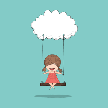 sky clouds: Cartoon girl swinging on a cloud, drawing by hand vector